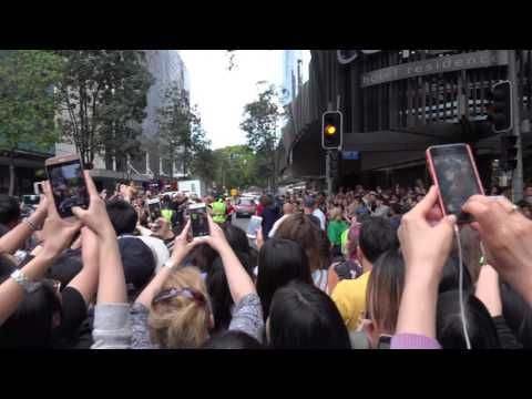 Chris Hemsworth having selfies with the fans at the Thor movie set in Br...