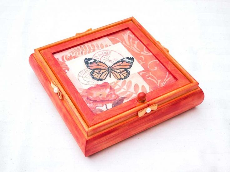 Narancssárga pillangós tükrös ékszertartó fa doboz