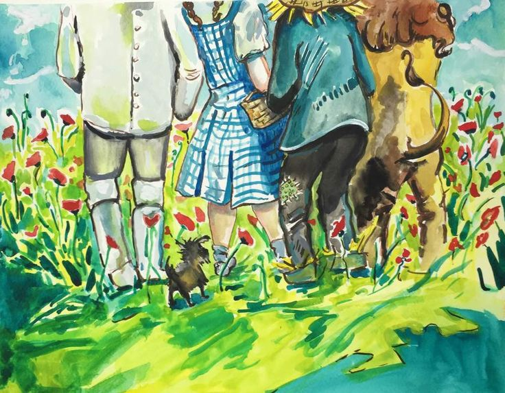 "The classic scene from Wizard of Oz of the gang entering the poppy field. A colorful print for any child's room ""you're getting sleepy, very sleepy!"" An archival print of an original painting by Abiga"