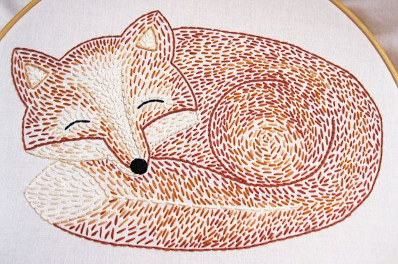 Sleepy Fox Hand Embroidery Pattern by EarlyBirdSpecial on Etsy, $5.00