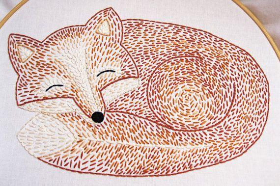 Sleepy Fox Hand Embroidery Pattern by EarlyBirdSpecial on Etsy, $5.00