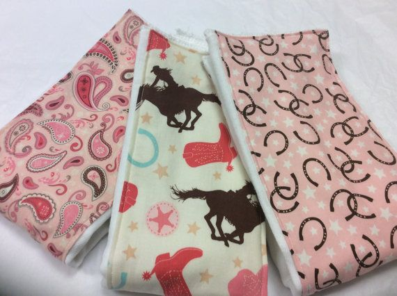 Western baby girl burp cloths in Rodeo Rider Round by NonisNappies