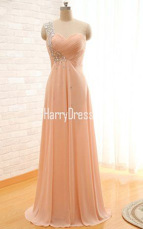 Peach Pleated Beading Sleeveless One Shoulder Floor Length Chiffon A Line  Court Train Long Prom Dress 517986756