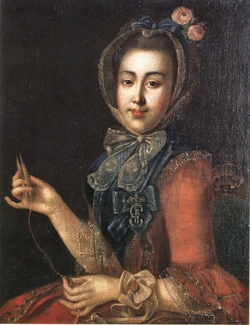 Anna Petrovna by Ivan Argunov (Russian artist, 1729-1802) she is tatting/ lacemakiing (Doctor Zhivago's mother-in-law)