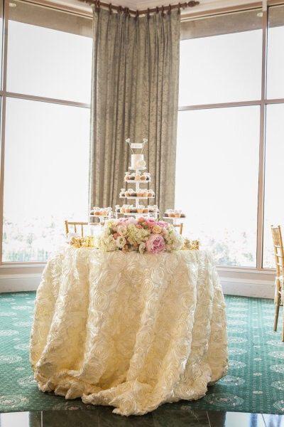SALE IVORY Satin ROSETTE Tablecloth, Rosette Wedding Tablecloth, Rosette Wedding…