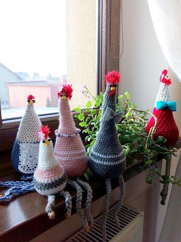 Wielkanocne dekoracje - kury na parapet. Szydełko i wełna   Szysia