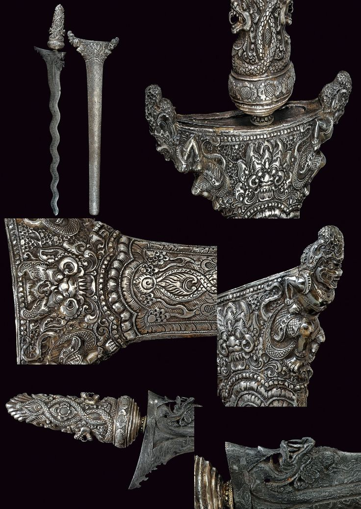 An important and rare silver mounted ceremonial and symbolical temple kris provenance: Bali dating: last quarter of the 19th Century