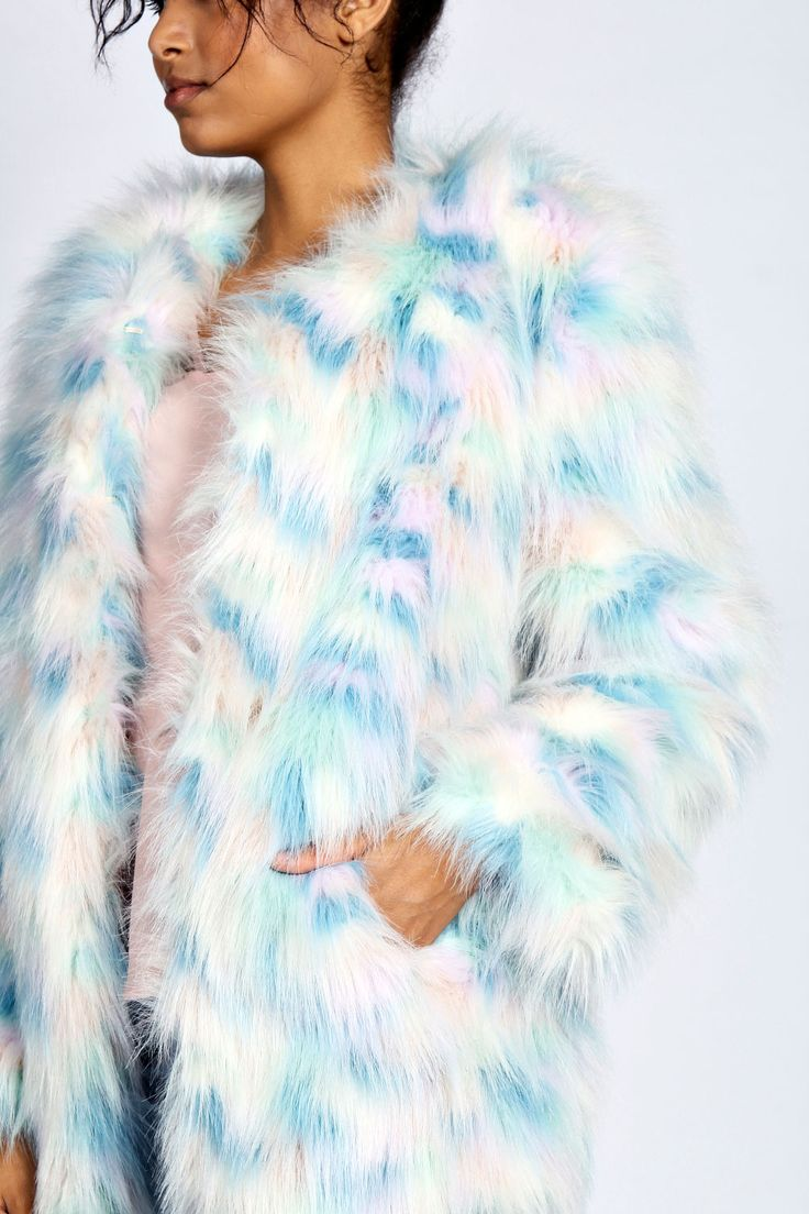 Nolah Rainbow Pastel Fur Coat at boohoo.com
