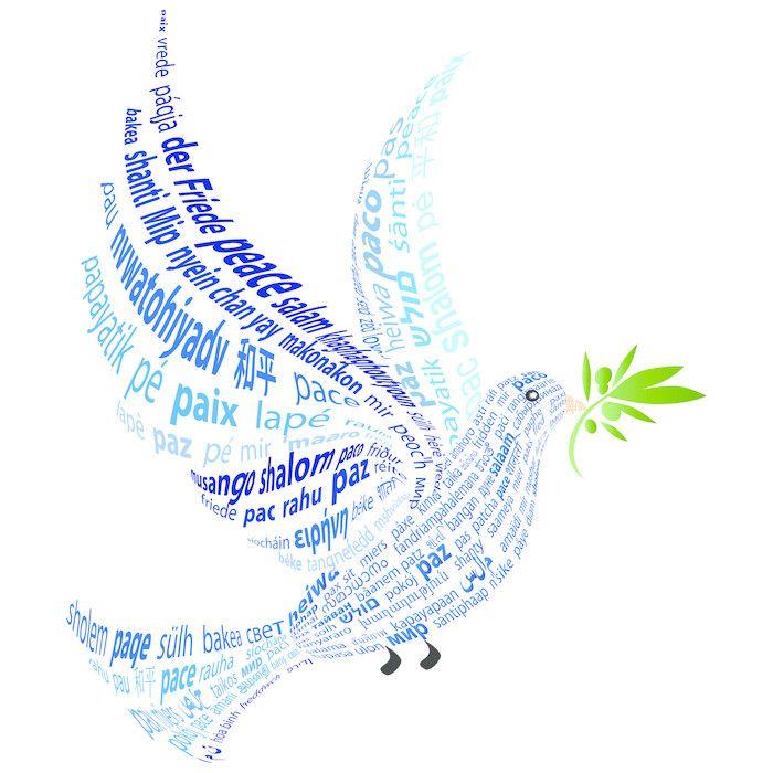 Fotomural Paloma Azul Con La Palabra Paz En Todos Los Idiomas Pixers Vivimos Para Cambiar Paloma De La Paz Palomitas Azules Paz