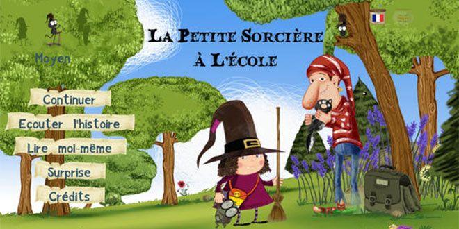 Livre interactif iPad et Androïd: La petite sorcière à l'école. Pour les 4 - 10 ans.  App-Enfant.fr. Encore un très beau livre interactif de Slim Cricket. Une histoire captivante, des personnages attachants et de l'interactivité à revendre !