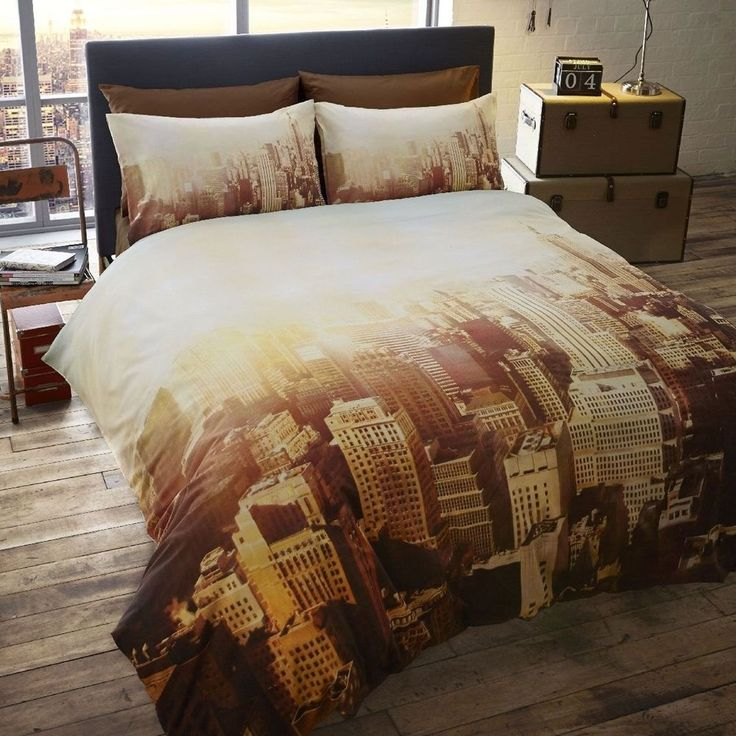 CITY SCAPE DOUBLE DUVET COVER SET NEW YORK STYLE BEDDING in Home, Furniture & DIY, Bedding, Bed Linens & Sets | eBay