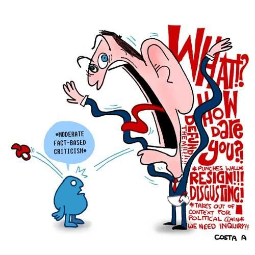 TONY PRIMA DONNA ABBOTT SPITTING THE DUMMY , AS USUAL. Cartoon by A. COSTA  (NEW MATILDA)