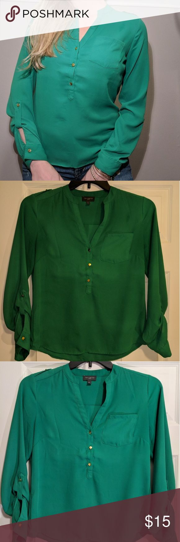 The Limited Kelly Green Long Sleeve Top Great condition only worn twice. Top button comes apart bc my chest is too large. (34D). It's an amazing top and deserves a new life! Gold button accents, pocket on front, and had ties on each arm The Limited Tops Blouses