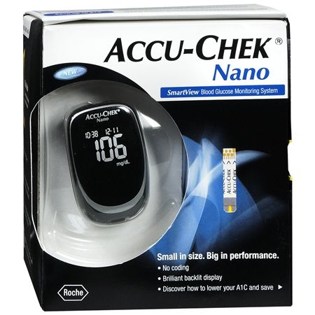 BoolPool Rating: Excellent (4.70 stars), Price: $11  Accu-Chek Nano Blood Glucose Monitoring System is a small and sleek device which can fit  in your palm, purse or pocket.  Read full summary of user reviews for Accu-Chek Nano Blood Glucose Monitoring System receiving 4.70 stars from 249 reviews.
