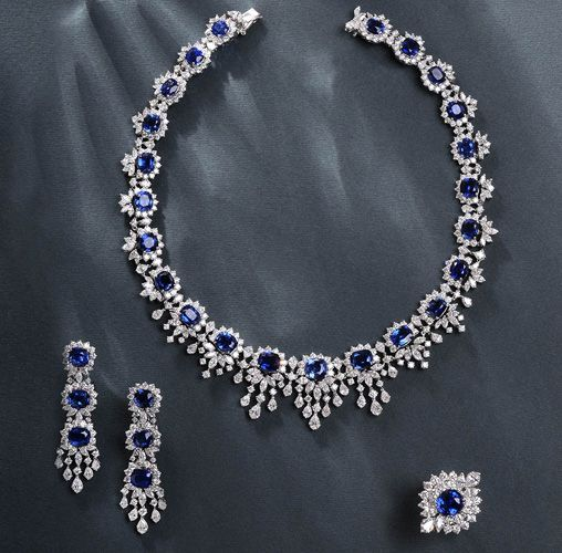 Yessayan sapphire and diamond necklace, earrings, and ring