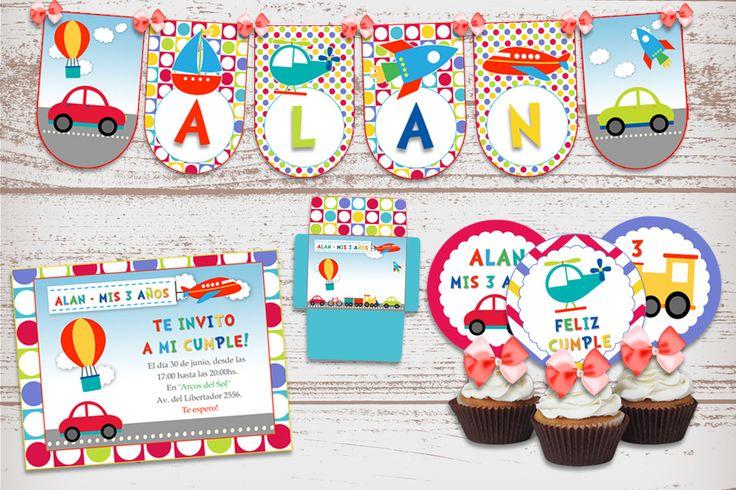 Kit Imprimible Autitos Infantiles Transportes para cumpleaños de nene.