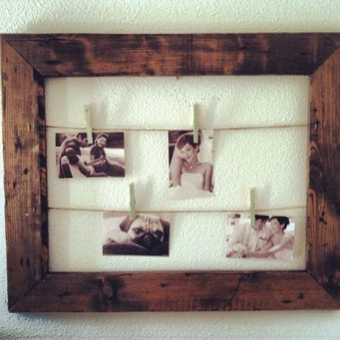 Rustic Clothesline Picture Frame, Picture Display, Seating Chart, Card Holder, Rustic Wedding, Unique Gift, Gallery Wall, Gift for Her by MintageDesigns on Etsy https://www.etsy.com/listing/155198210/rustic-clothesline-picture-frame-picture