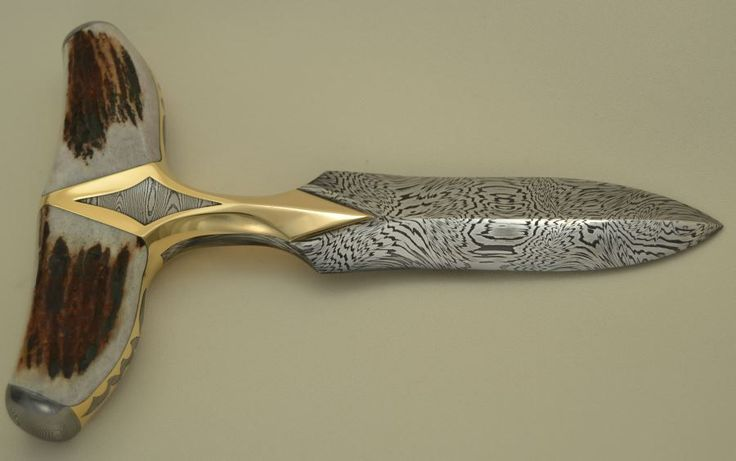 """Push dagger with 800 layer W pattern Damascus blade 48"""" long"""