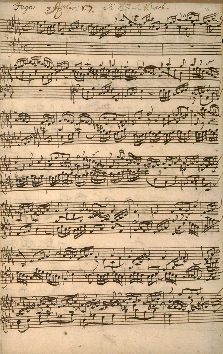 JS Bach 'The Well-tempered Clavier' manuscript