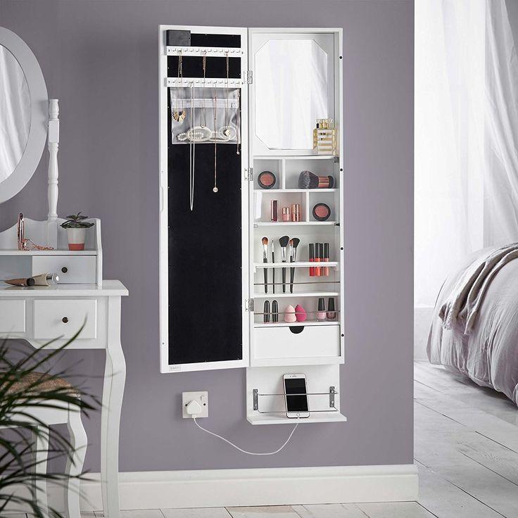 White Led Wall Mounted Storage Mirror, Jewelry Cabinet Wall Mounted Mirrored Armoire Storage Organizer