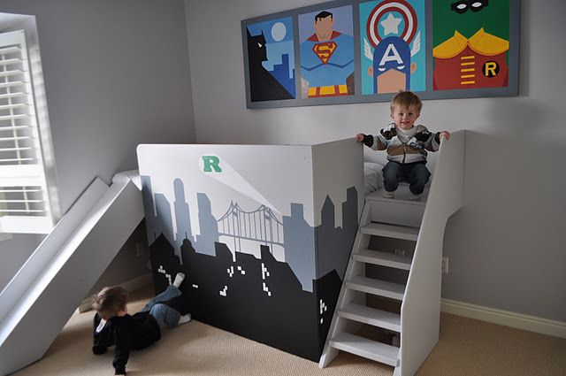 "FREE PLANS for this DIY LOFTED BED TUTORIAL! With stairs and a custom SLIDE!! DIY toddler bed / diy bunk bed for a boys superhero theme bedroom / nursery! Built in bedrail  headboard. A cubby underneath as diy reading nook, storage, or just a cool superhero ""hideout"". Lots of other crafty Superhero ideas for a personalized Batman / Batcave theme / Avengers Coolest boys room in have EVER seen. Cheap decorating ideas on a budget! Inexpensive - how to build a DIY superhero toddler bed! FREE…"