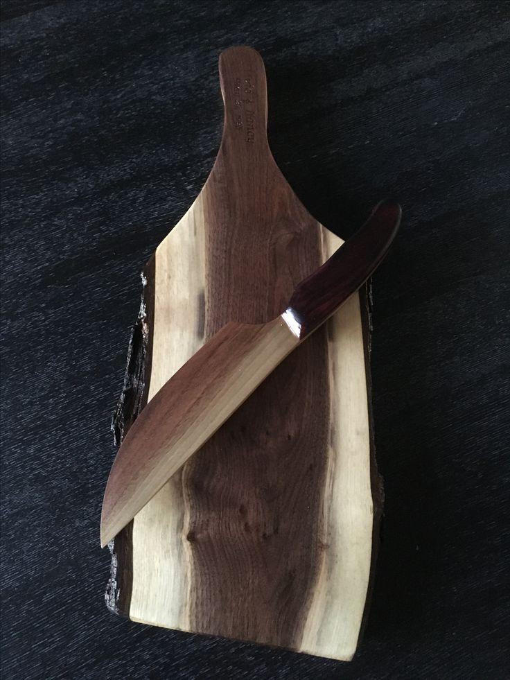 Walnut cheese board with walnut and Purple Heart knife by @gregdarbywoodcraft