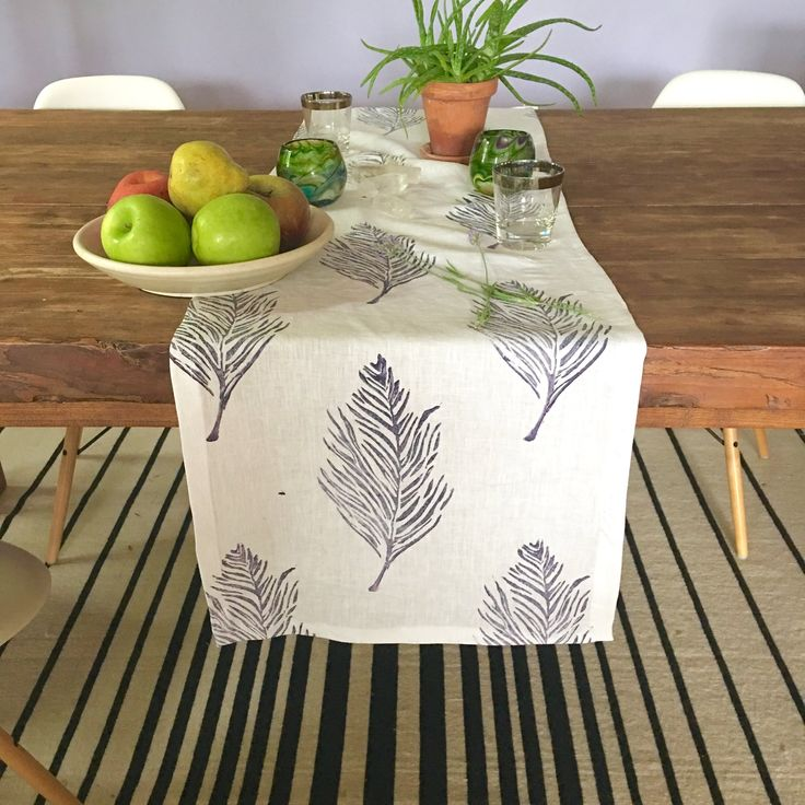 Feather White Linen Table Runner in Deep Purple — Tulusa