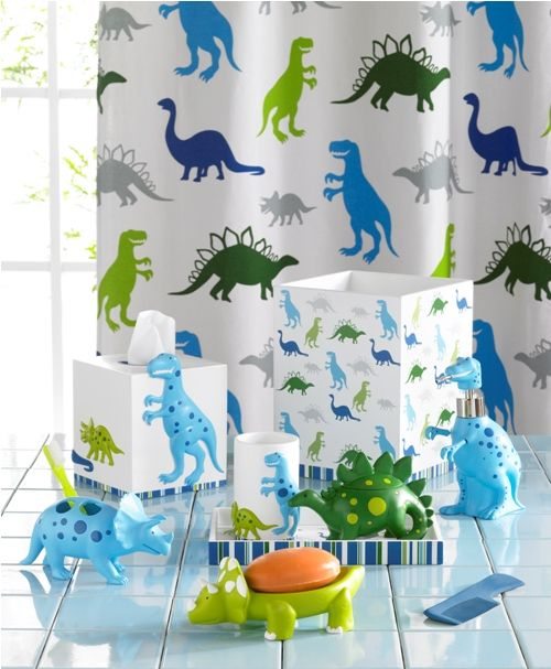 My son is obsessed with dinosaurs so I may decorate her bathroom with this super cute set.