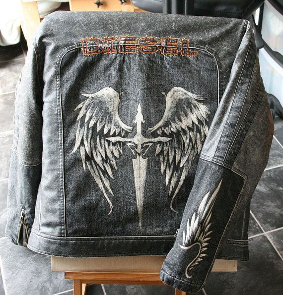 Hand painted, wing and sword, on upcycled  Diesel jacket on Etsy, $123.16 CAD