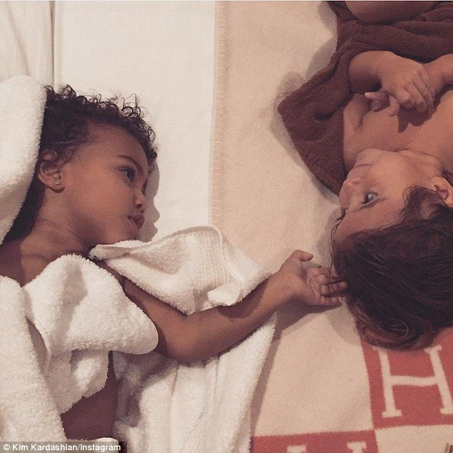 Besties! On Thursday night cousins North West and Penelope Disick shared a sweet moment before bed which was captured by proud mother and aunt Kim Kardashian with an Instagram snap