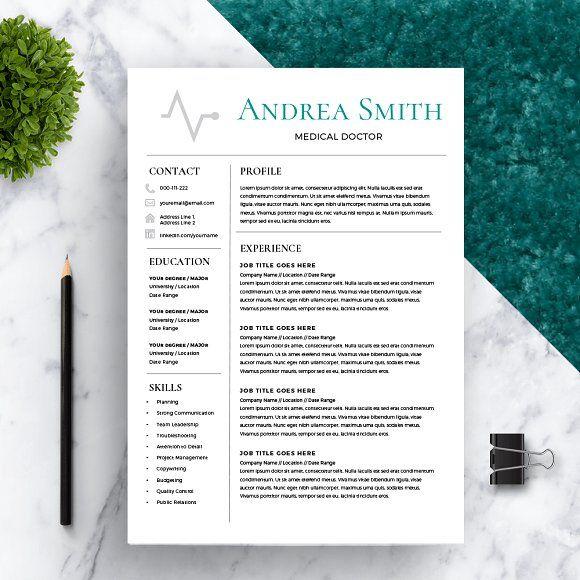 Resume for Nurses / Medical by Kingdom Of Design on @creativemarket