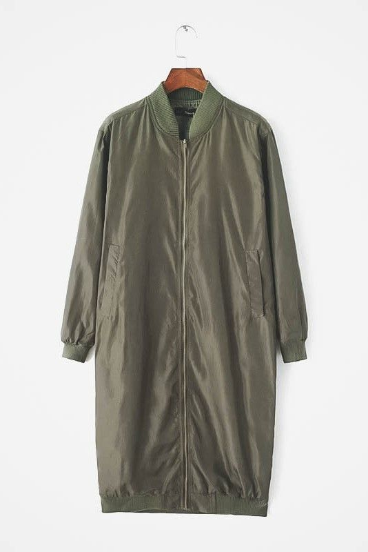 Olive Green Oversized Nylon Zipper Jacket