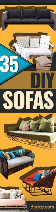 DIY Sofas and Couches - Easy and Creative Furniture and Home Decor Ideas - Make Your Own Sofa or Couch on A Budget - Makeover Your Current Couch With Slipcovers, Painting and More. Step by Step Tutorials and Instructions http://diyjoy.com/diy-sofas-couches