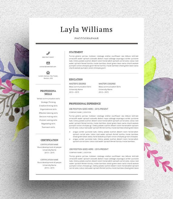 Clean  Modern Resume template (curriculum vitae/CV) with Cover