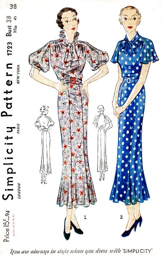 cfffc9090de29 1930s dress vintage sewing pattern reproduction // 2 styles // flutter  sleeves // collar interest // bust 38