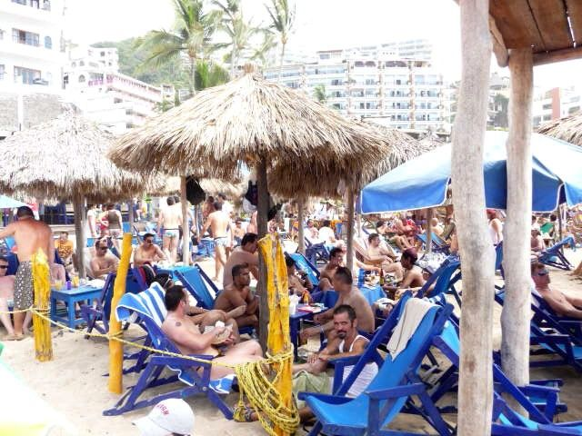 The Puerto Vallarta Gay Beach   The Blue Chairs During Easter Week Or  Semana Santa.