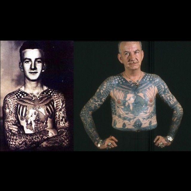 Aging Ink. How will your tattoos look when you get older. Freakin awesome, of course! Check out these photos.    Then and now, 60 year old tattoos on Bob Shaw. All original artwork done by Bert Grimm in 1940.