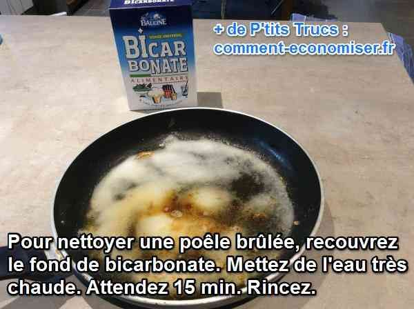 utilisez du bicarbonate pour ravoir une poêle ou casserole cramée