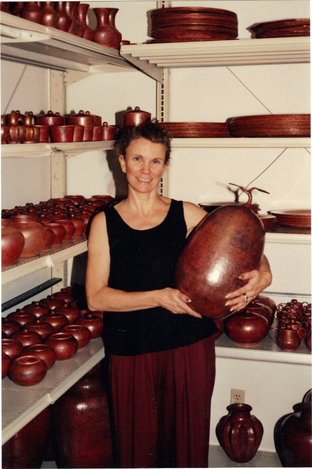 """When we started the copper business in 1994 it began in my living room. When we ran out of floor space we moved it to two 8' x 10' rooms in the basement. Here you can see all our """"copper babies"""" lined up on steel shelves that we purchased from a liquidating company in town. We did all our packing and shipping in these two rooms too – it was pretty tight! Later that year we finally """"grew up"""" a bit and leased a small warehouse space in town."""