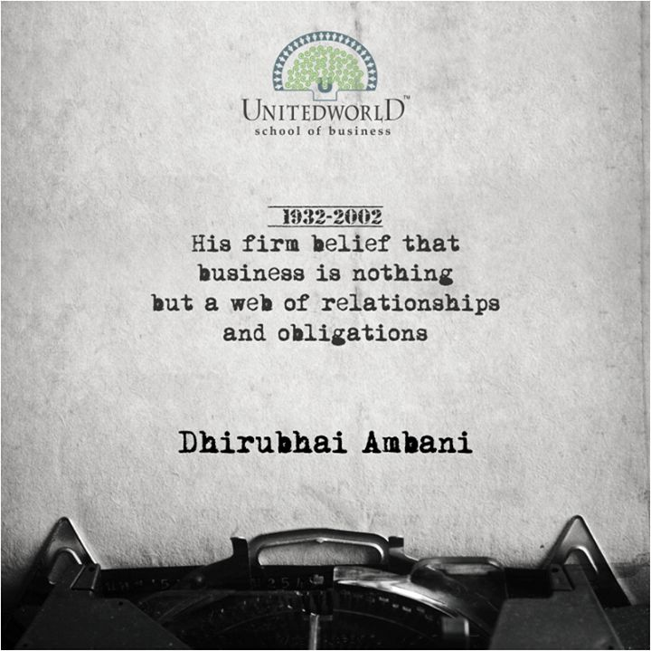Dhirubhai Ambani is an example of one of the greatest Indian Entrepreneurs who was responsible for a NEW & CHANGED INDIA.   #KU #UWSB #LearnFromBest #SuccessfulEntrepreneurs