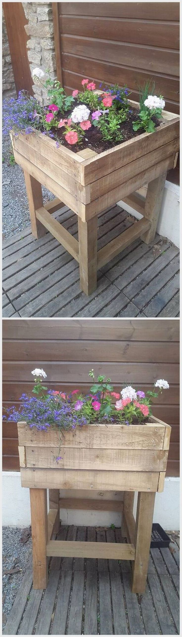 Old Wood Pallet Planter Box #palletfurniturebench