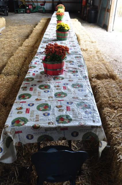 Maybe the hay bails will work after all. They are using the same kind of tables we will be using.