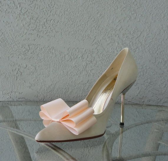 Light Peach Color Satin Ribbon Bow Shoe Clips Set Of Two, More Colors Available via Etsy