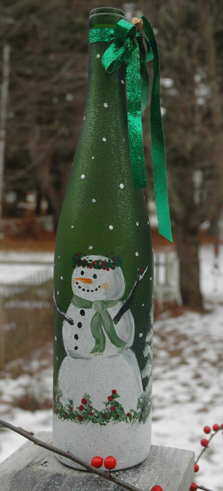 518 best images about holiday glass painting ideas on for Painted wine bottles
