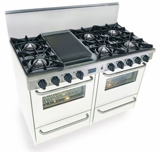"""WTN510-7W Five Star 48"""" Pro Style Gas Range with Open ..."""