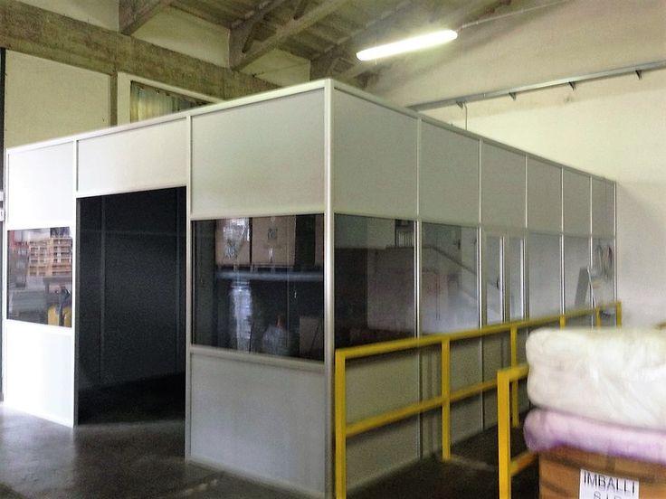 Box multiuso destinato a sala montaggio realizzato con pareti divisorie-mobili.