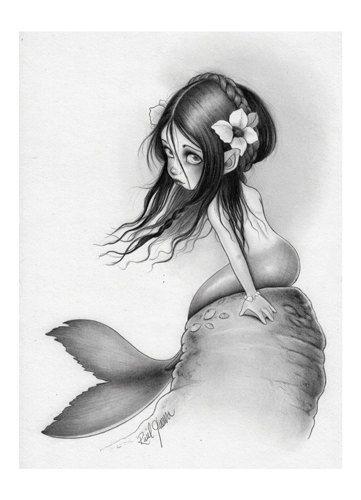 CORALIA Maiden de l'estampe originale de mer A4 par raulguerra