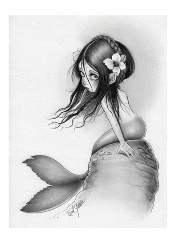 CORALIA -Maiden of the Sea-  Original print size A5 (150 x 230mm aprox) featuring a beautiful Mermaid Girl. Giclee Print on Epson Stylus Pro_ Raul Guerra
