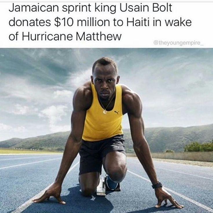 "The Buzz Is...  Usain Bolt donates $10 million to Haiti.  That's An Icon! #PrayForHaiti"" TV One UsainBolt #PrayForHaiti"""