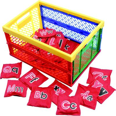 26 pack of Alpha Bean bags and crate
